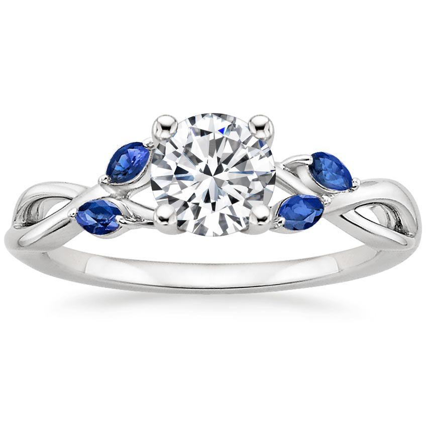 Round Sapphire Accent Engagement Ring