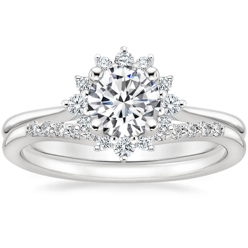 Platinum Sol Diamond Ring with Petite Curved Diamond Ring