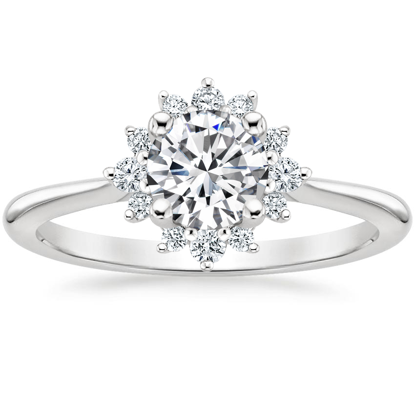 Round 18K White Gold Sol Diamond Ring