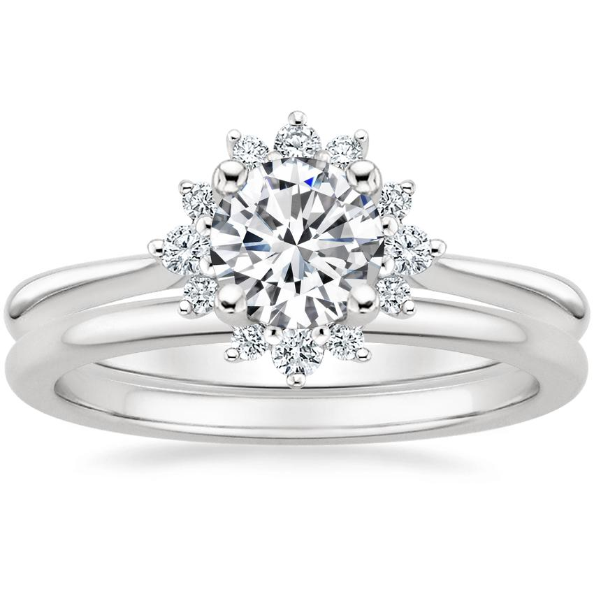 Platinum Sol Diamond Ring with Petite Comfort Fit Wedding Ring