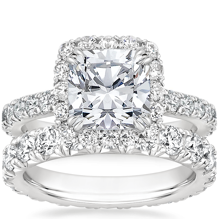 Platinum Luxe Sienna Halo Diamond Ring (3/4 ct. tw.) with French Pavé Eternity Diamond Ring (2 ct. tw.)