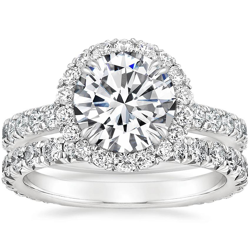 Platinum Luxe Sienna Halo Diamond Ring (3/4 ct. tw.) with Signature Luxe Sienna Diamond Ring (5/8 ct. tw.)