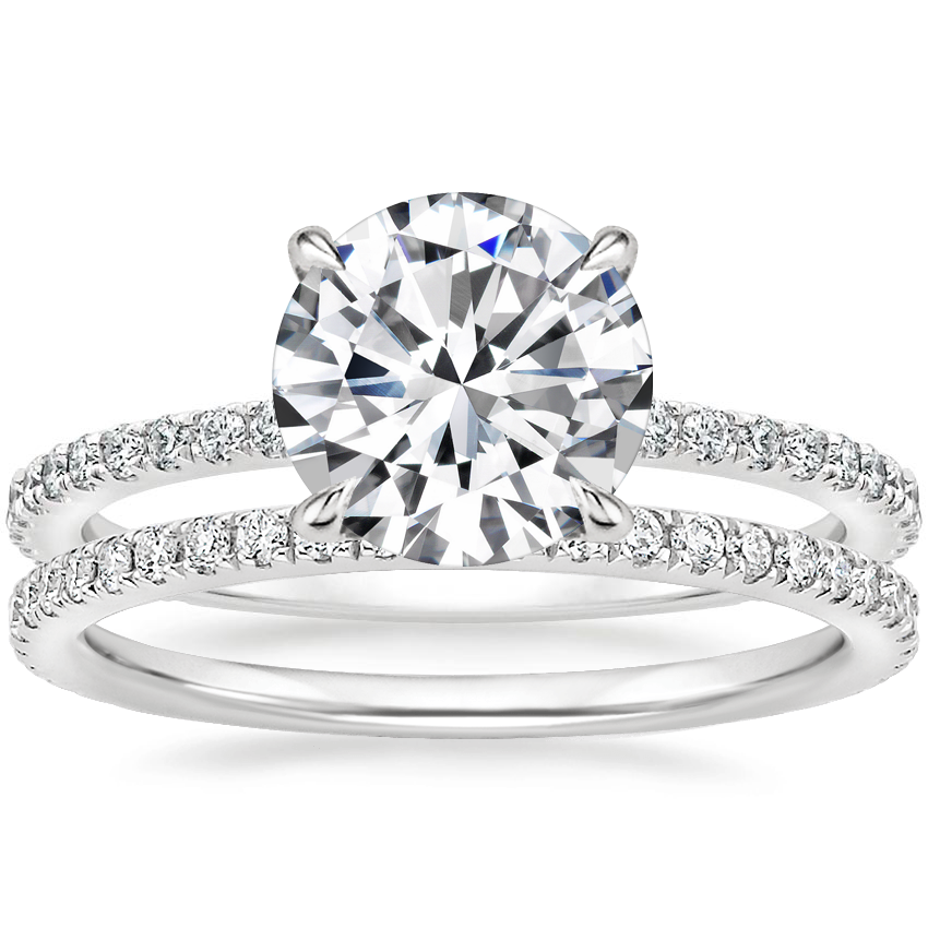 18K White Gold Demi Diamond Ring (1/3 ct. tw.) with Luxe Ballad Diamond Ring (1/4 ct. tw.)