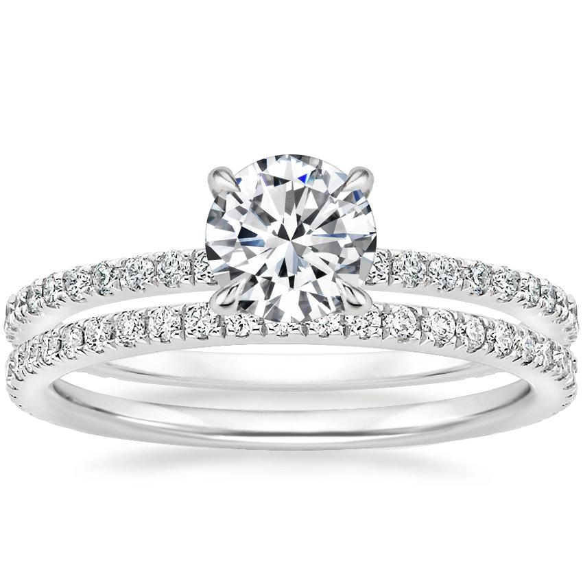 Platinum Demi Diamond Ring (1/3 ct. tw.) with Luxe Ballad Diamond Ring (1/4 ct. tw.)