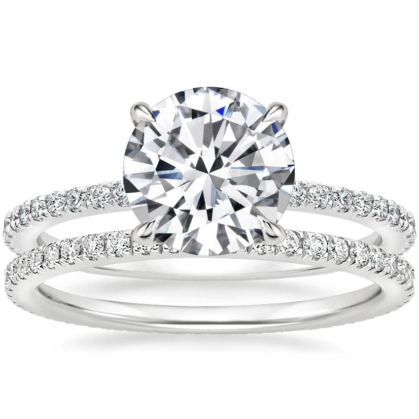 18K White Gold Demi Diamond Ring (1/3 ct. tw.) with Ballad Eternity Diamond Ring (1/3 ct. tw.)