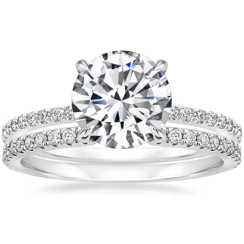 Platinum Demi Diamond Ring (1/3 ct. tw.) with Luxe Sia Diamond Ring (1/5 ct. tw.)