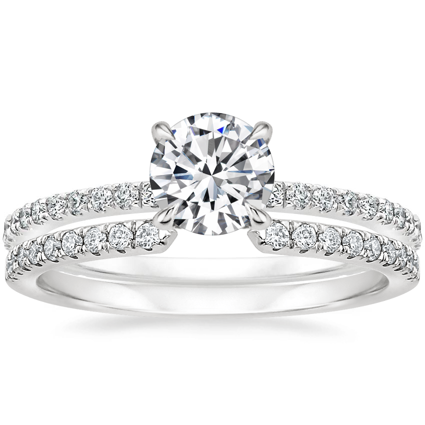 18K White Gold Mixed Metal Demi Diamond Ring (1/3 ct. tw.) with Sia Diamond Ring (1/8 ct. tw.)
