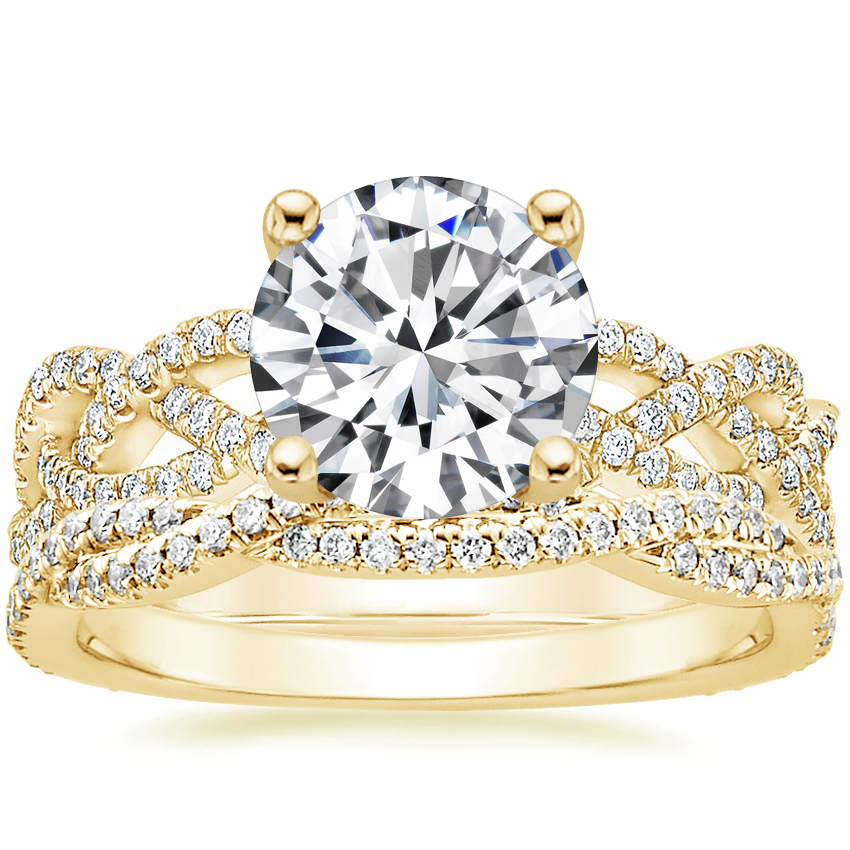 18K Yellow Gold Solana Diamond Ring (1/3 ct. tw.) with Petite Luxe Twisted Vine Diamond Ring (1/4 ct. tw.)