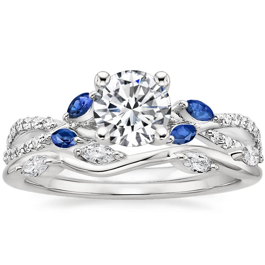 18K White Gold Luxe Willow Sapphire and Diamond Ring (1/8 ct. tw.) with Winding Willow Diamond Ring (1/8 ct. tw.)
