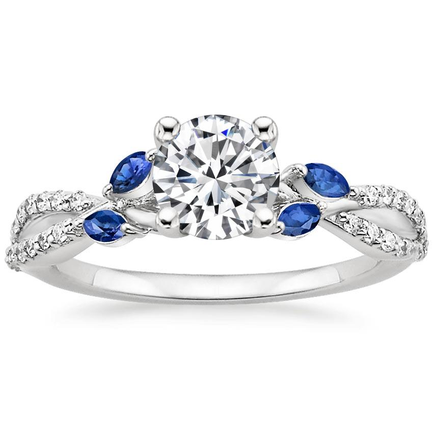 Round Engagement Ring with Sapphires