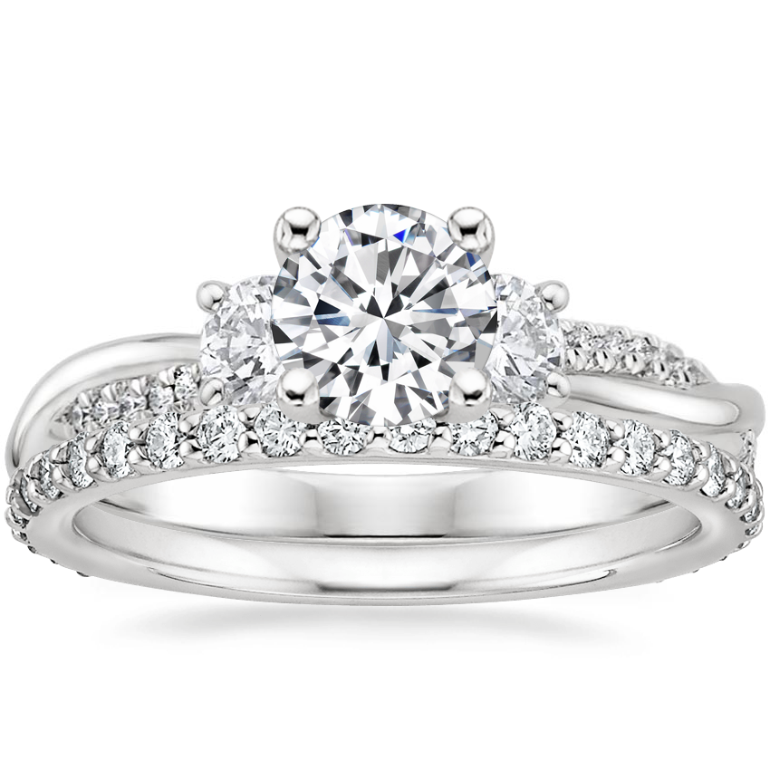 Platinum Three Stone Petite Twisted Vine Diamond Ring (2/5 ct. tw.) with Petite Shared Prong Eternity Diamond Ring (1/2 ct. tw.)