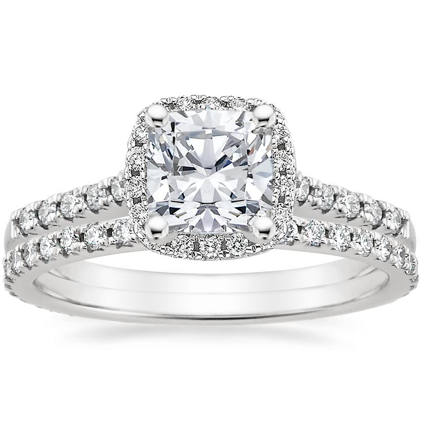Platinum Odessa Diamond Ring (1/4 ct. tw.) with Sonora Eternity Diamond Ring (3/8 ct. tw.)