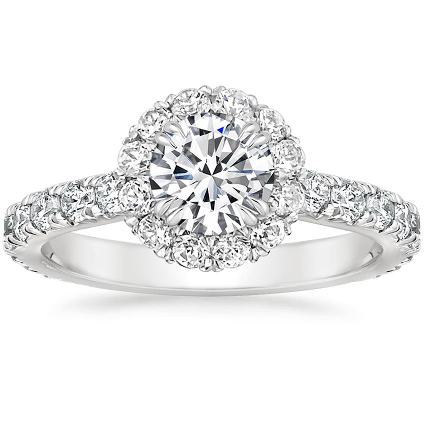 Platinum Luxe Sienna Halo Diamond Ring, top view