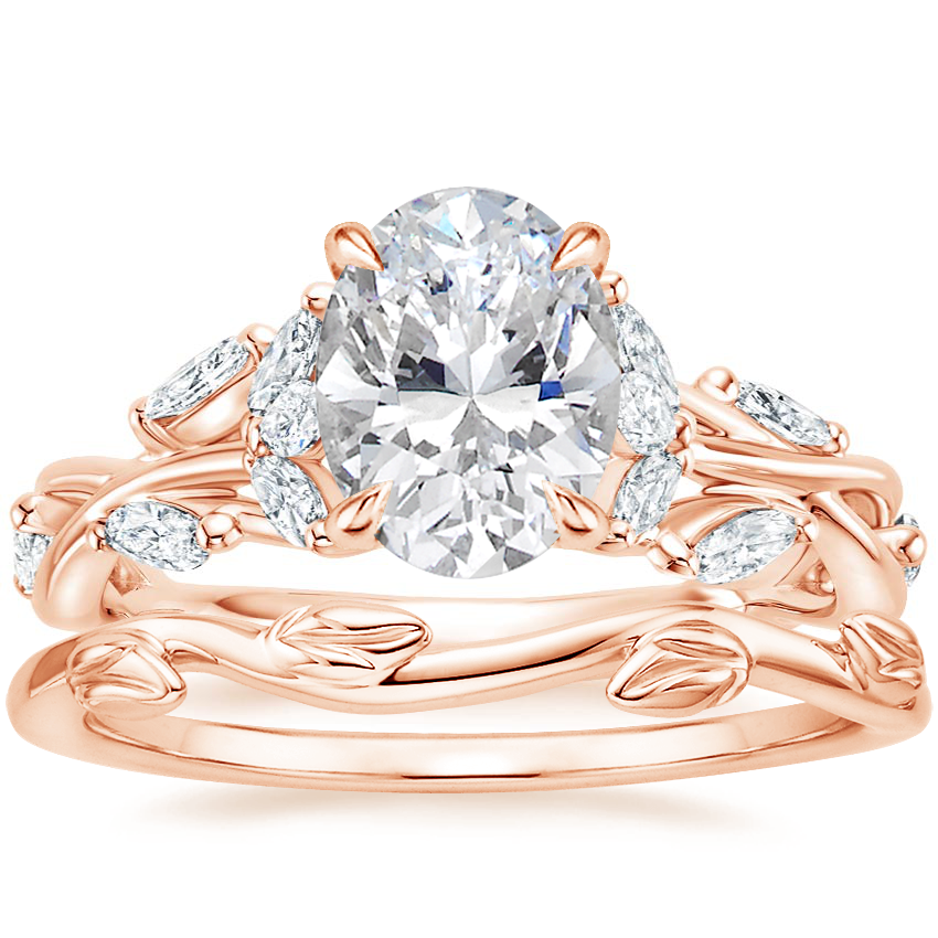 14K Rose Gold Secret Garden Diamond Ring (1/2 ct. tw.) with Winding Willow Ring