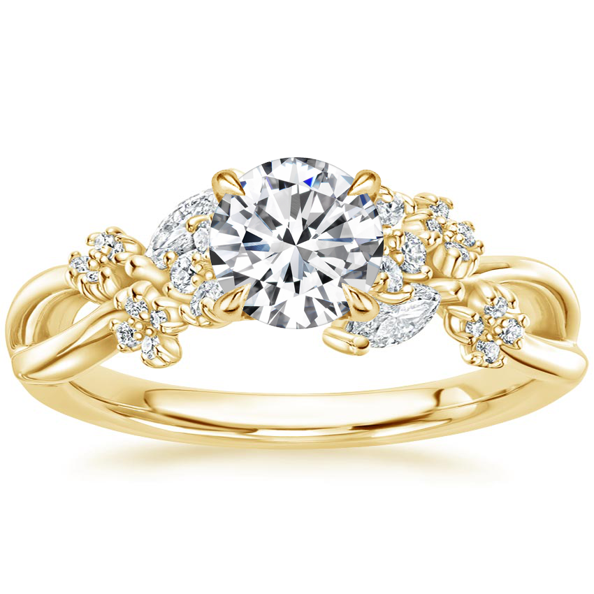 Round 18K Yellow Gold Summer Blossom Diamond Ring (1/4 ct. tw.)