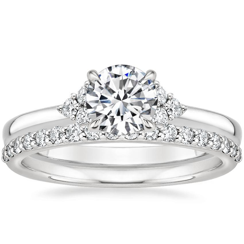 Platinum Melody Diamond Ring with Petite Shared Prong Diamond Ring (1/4 ct. tw.)