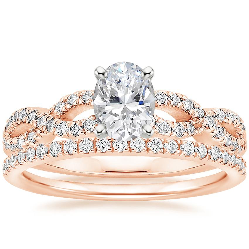 14K Rose Gold Infinity Diamond Ring with Ballad Diamond Ring (1/6 ct. tw.)