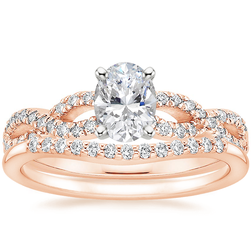 14K Rose Gold Infinity Diamond Ring with Petite Curved Diamond Ring