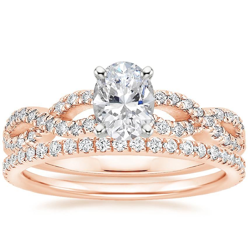 14K Rose Gold Infinity Diamond Ring with Luxe Ballad Diamond Ring (1/4 ct. tw.)
