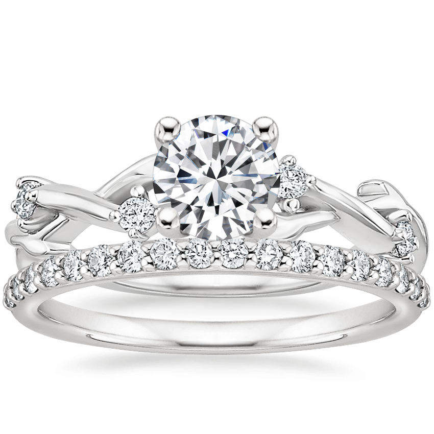 18K White Gold Liana Diamond Ring with Petite Shared Prong Diamond Ring (1/4 ct. tw.)