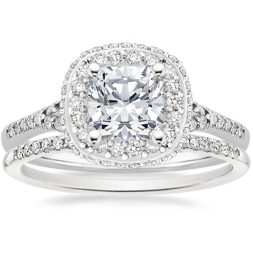 18K White Gold Circa Diamond Ring (1/2 ct. tw.) with Whisper Diamond Ring (1/10 ct. tw.)