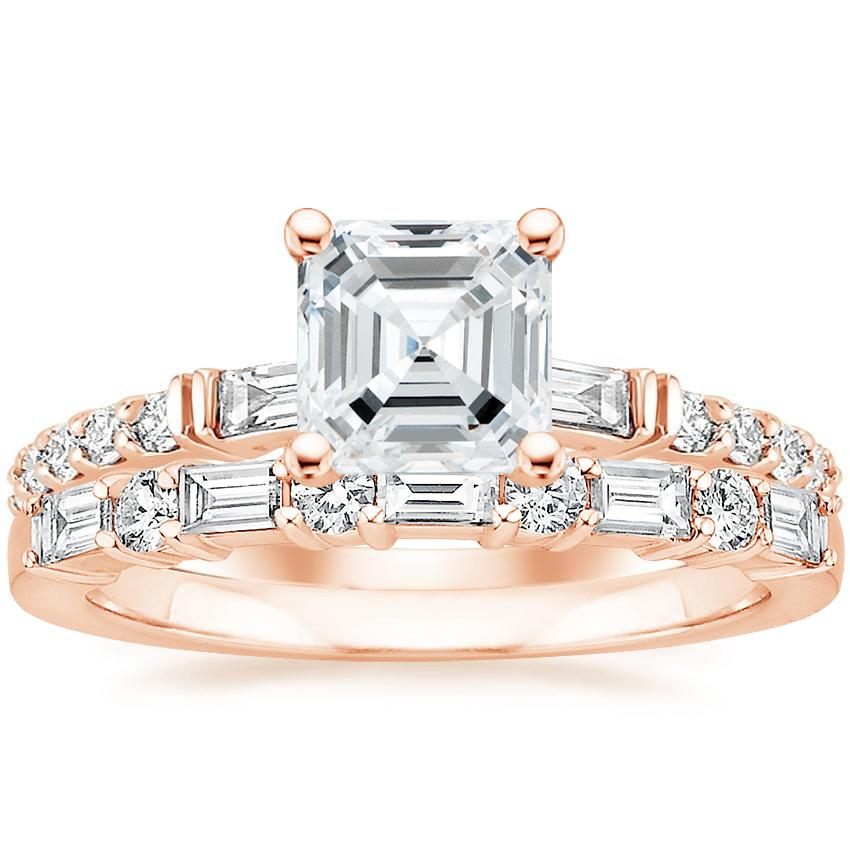 14K Rose Gold Regency Diamond Ring with Leona Diamond Ring (1/3 ct. tw.)