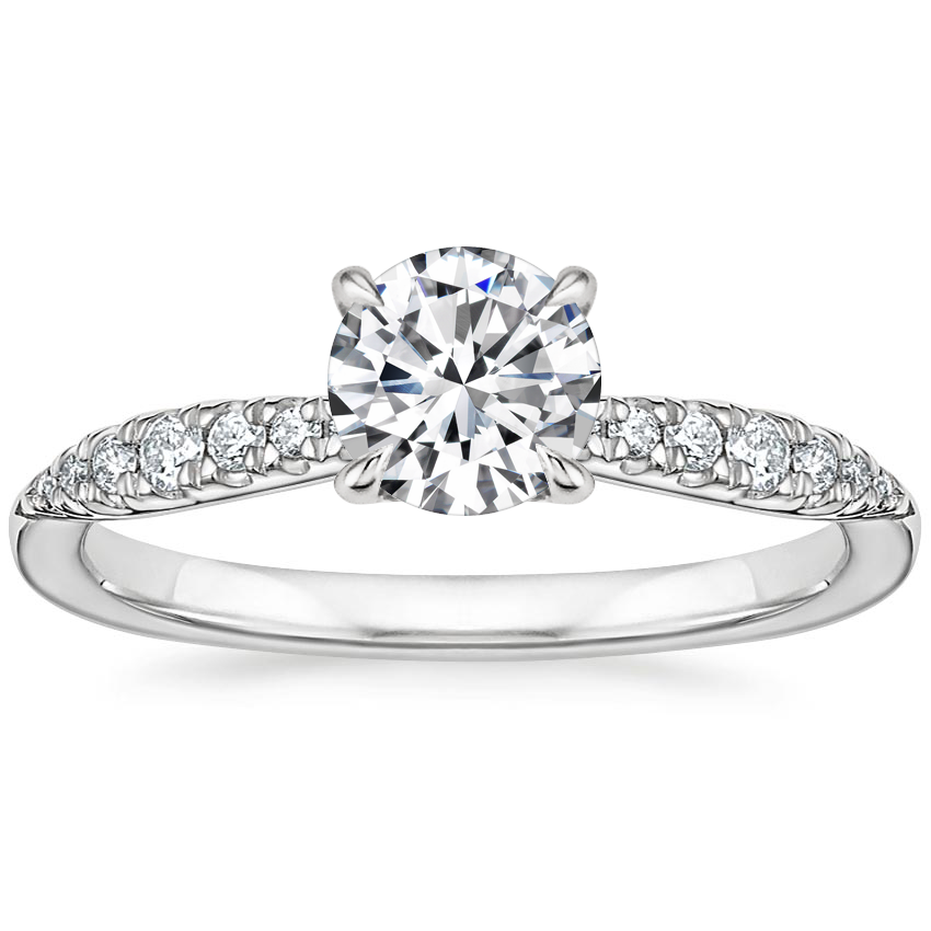 Round Tapering Pave Diamond Engagement Ring
