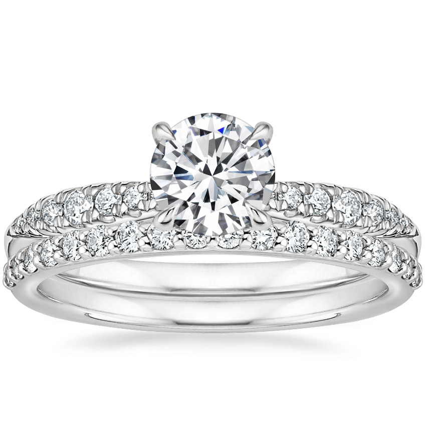 18K White Gold Emmeline Diamond Ring with Petite Shared Prong Diamond Ring (1/4 ct. tw.)
