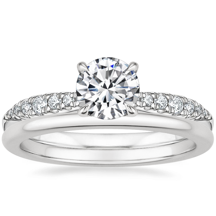 18K White Gold Emmeline Diamond Ring with Petite Comfort Fit Wedding Ring