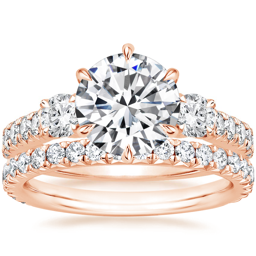 14K Rose Gold Gramercy Diamond Ring (3/4 ct. tw.) with Luxe Amelie Diamond Ring (2/5 ct. tw.)