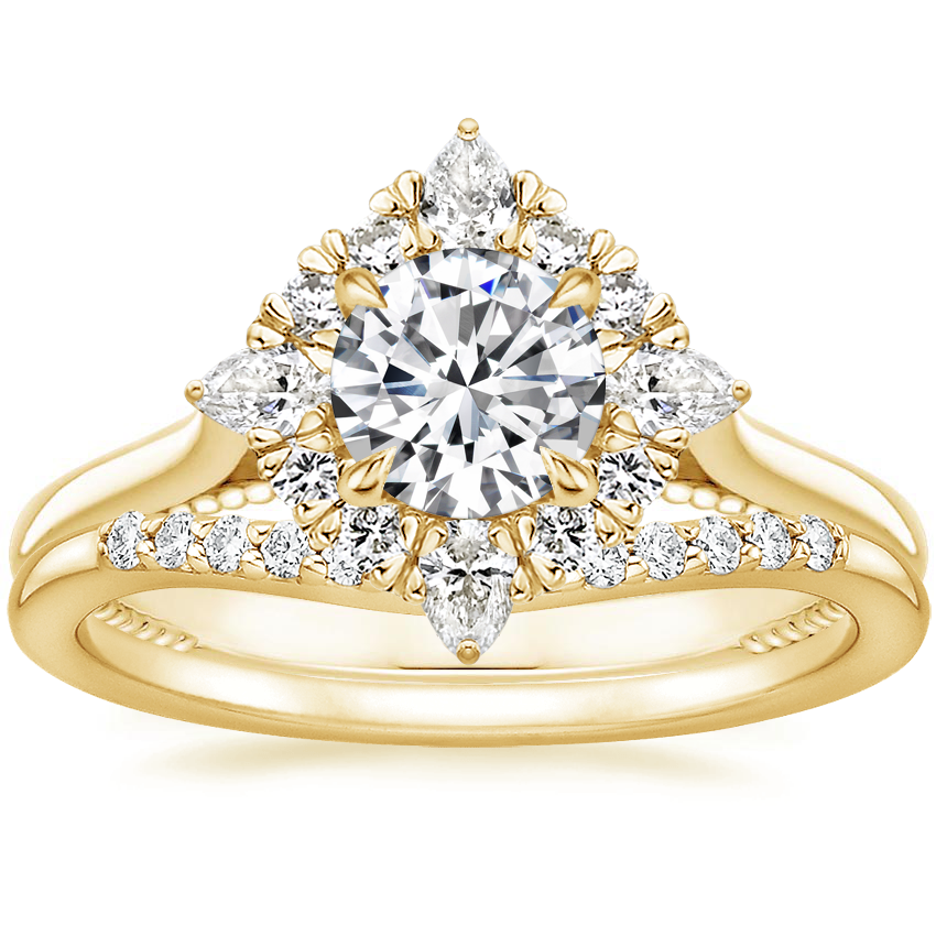 18K Yellow Gold Dahlia Halo Diamond Ring (1/3 ct. tw.) with Petite Curved Diamond Ring (1/10 ct. tw.)