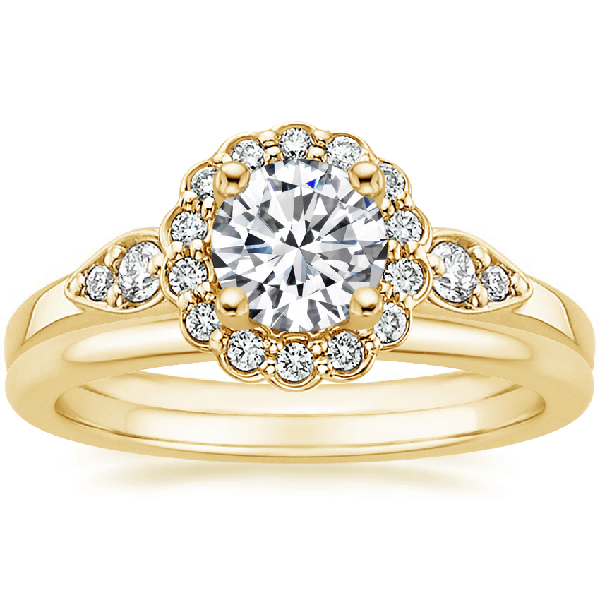 18K Yellow Gold Camillia Diamond Ring with Petite Comfort Fit Wedding Ring