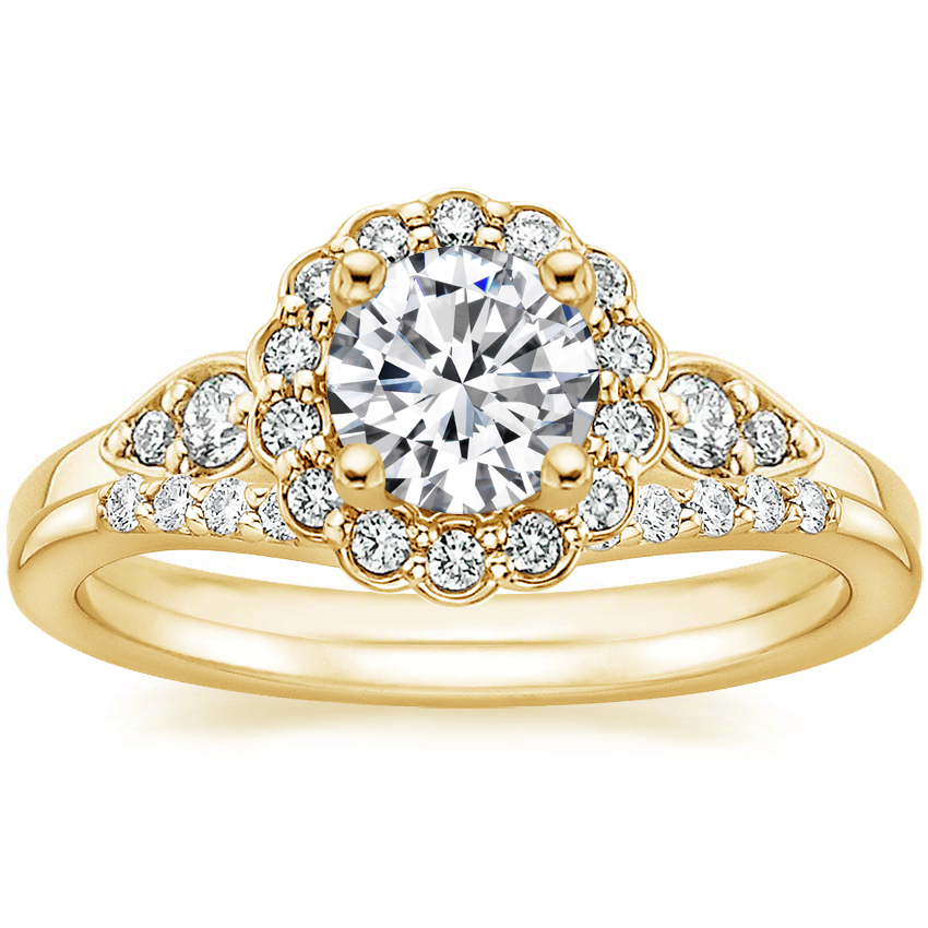 18K Yellow Gold Camillia Diamond Ring (1/3 ct. tw.) with Petite Curved Diamond Ring