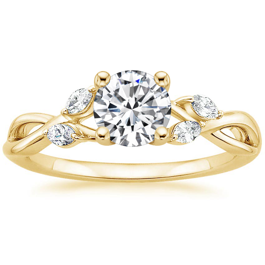 Round 18K Yellow Gold Willow Diamond Ring (1/8 ct. tw.)
