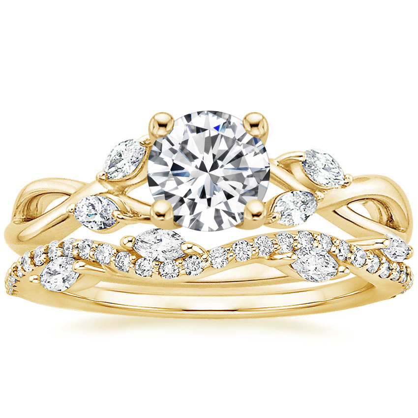 18K Yellow Gold Willow Diamond Ring with Luxe Winding Willow Diamond Ring (1/4 ct. tw.)