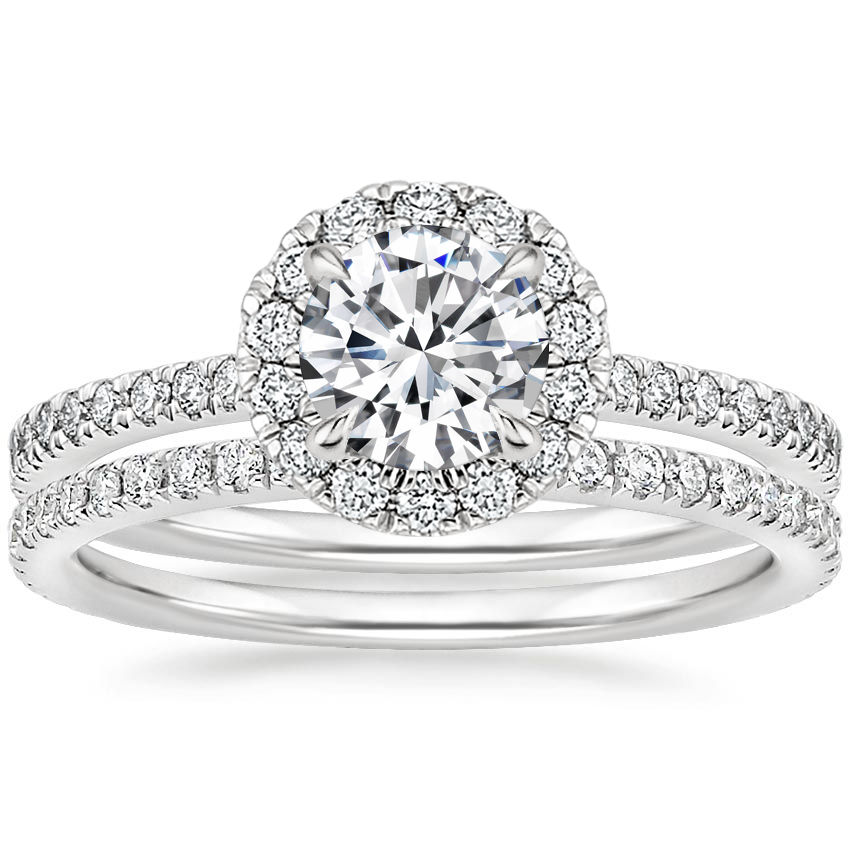 18K White Gold Luxe Ballad Halo Diamond Bridal Set (5/8 ct. tw.)