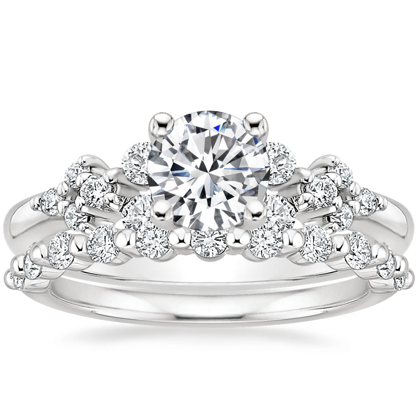 18K White Gold Effervescence Diamond Ring with Marseille Diamond Ring (1/3 ct. tw.)