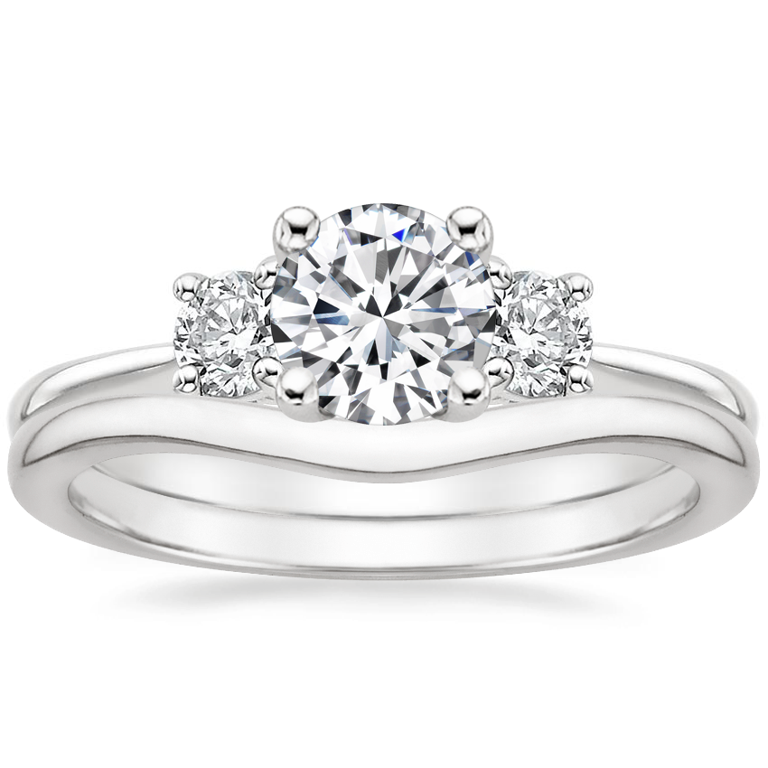 18K White Gold Serena Diamond Ring with Petite Curved Wedding Ring