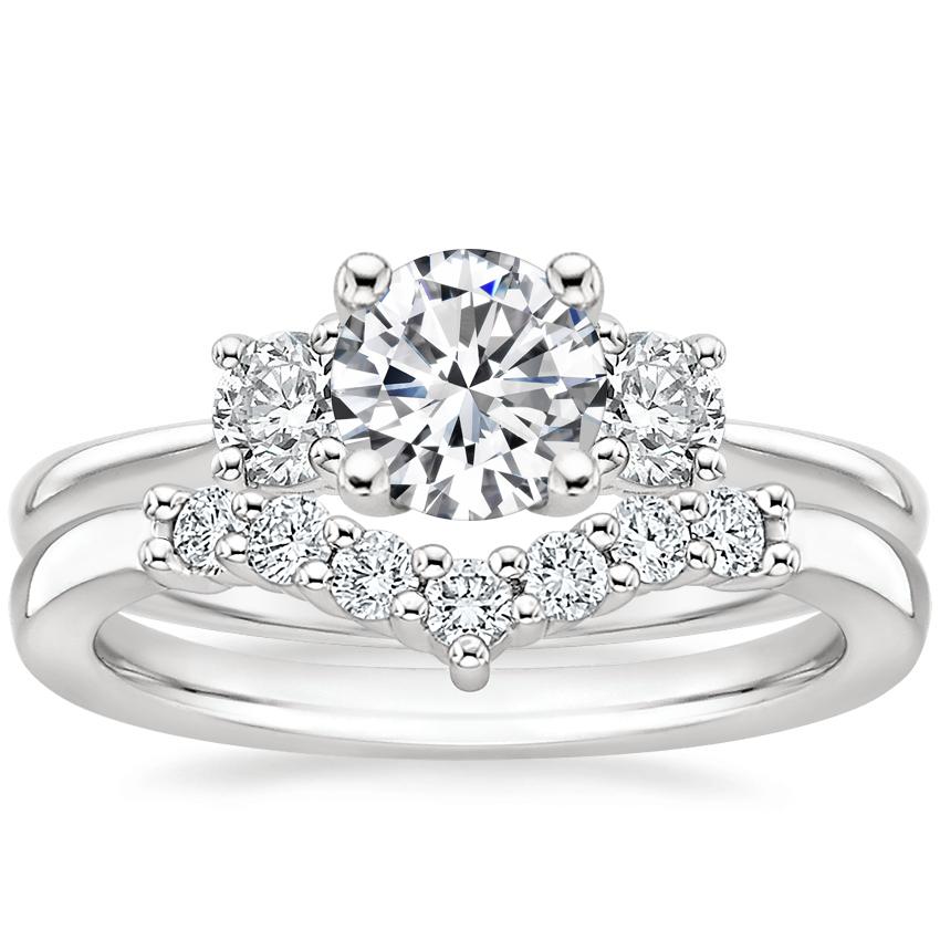 18K White Gold Tapered Three Stone Diamond Ring (1/3 ct. tw.) with Verona Diamond Ring