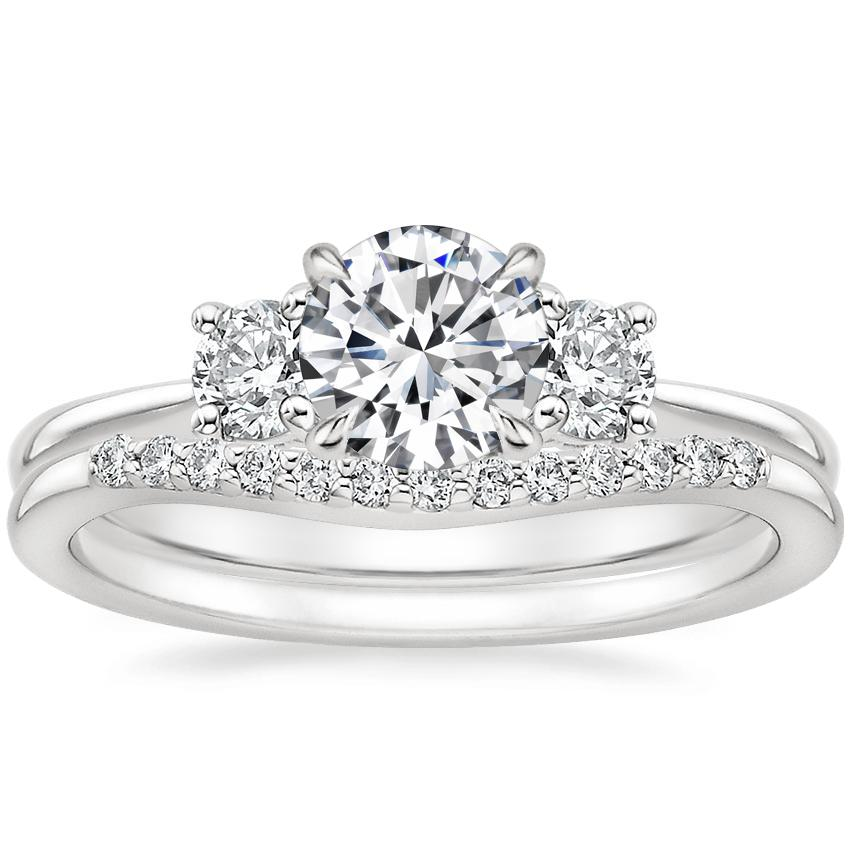 18K White Gold Tapered Three Stone Diamond Ring with Petite Curved Diamond Ring