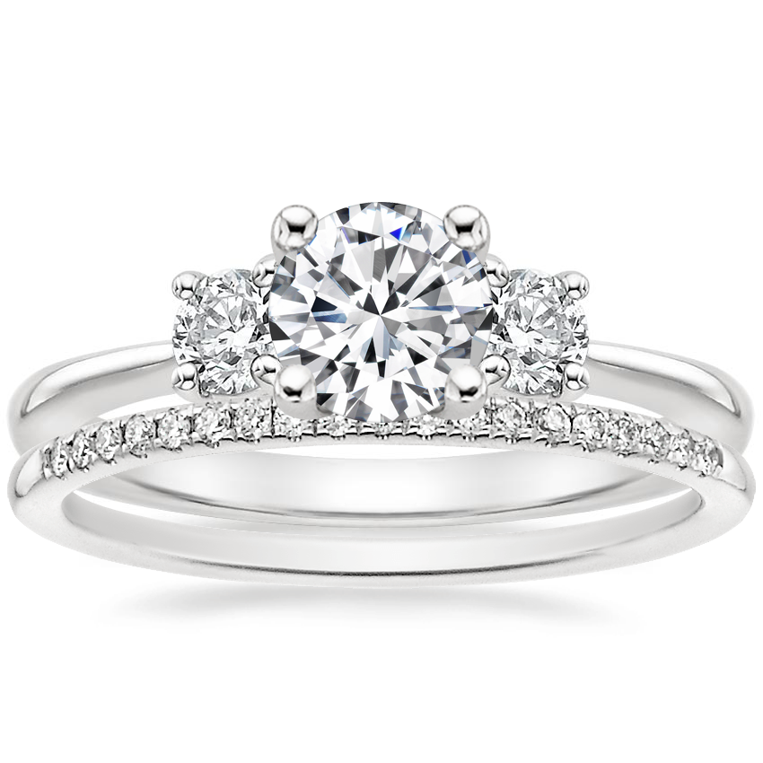 18K White Gold Serena Diamond Ring with Whisper Diamond Ring (1/10 ct. tw.)