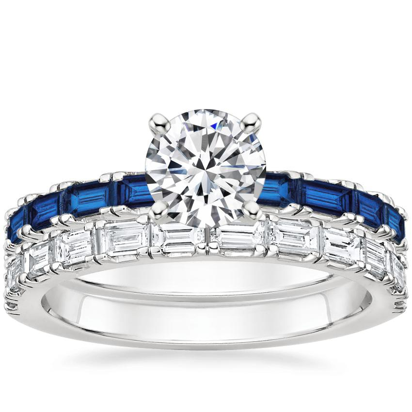 18K White Gold Gemma Sapphire and Diamond Ring with Gemma Diamond Ring (1/2 ct. tw.)