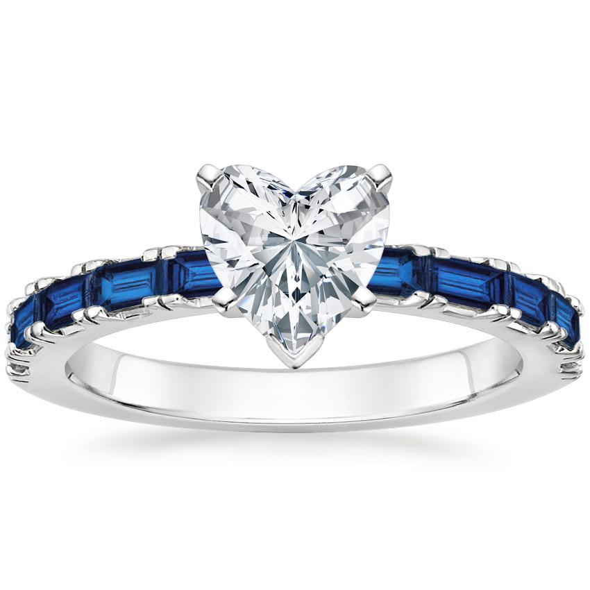 82d3f64336b229 18K White GoldGemma Sapphire and Diamond Ring with Gemma Diamond Ring (1 2  ct. tw.)