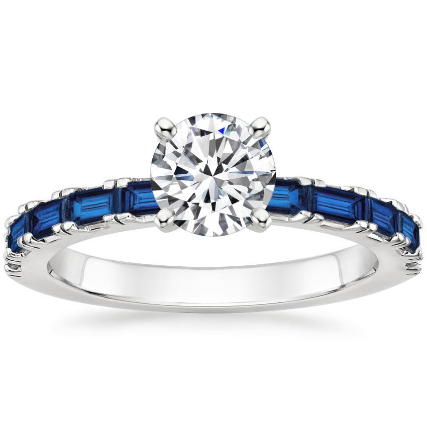 Round Baguette Cut Sapphire Ring