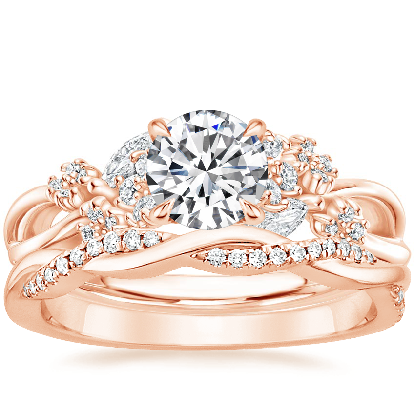 14K Rose Gold Summer Blossom Diamond Ring (1/4 ct. tw.) with Petite Twisted Vine Diamond Ring (1/8 ct. tw.)