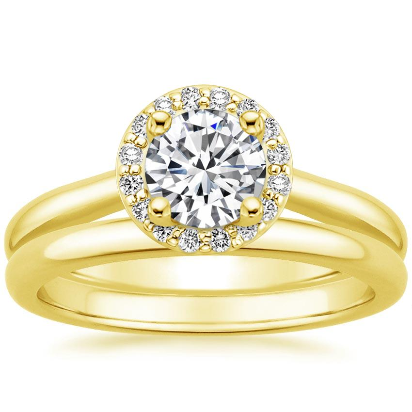 18K Yellow Gold Halo Diamond Bridal Set (1/6 ct. tw.)