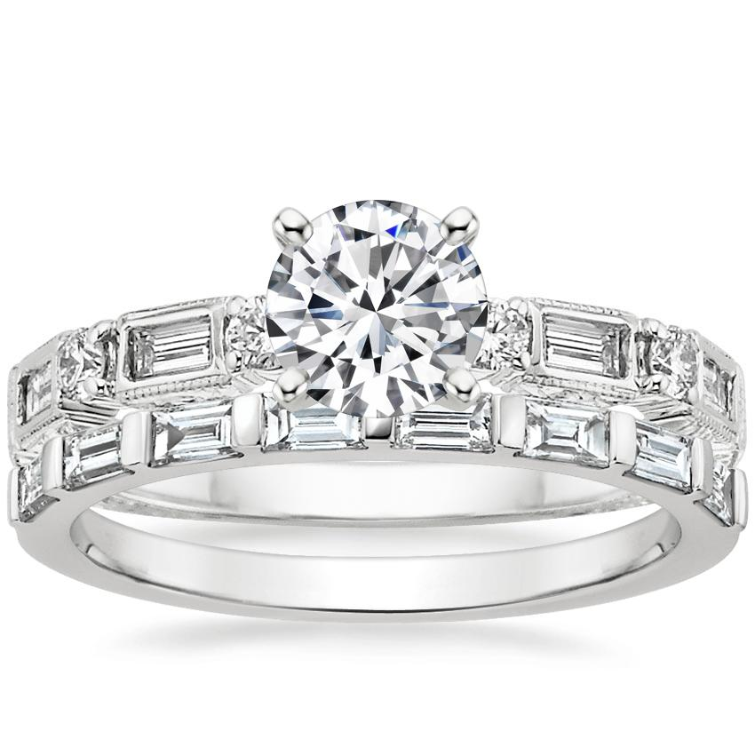 Platinum Vintage Diamond Baguette Ring (1/4 ct. tw.) with Barre Diamond Ring (1/4 ct. tw.)