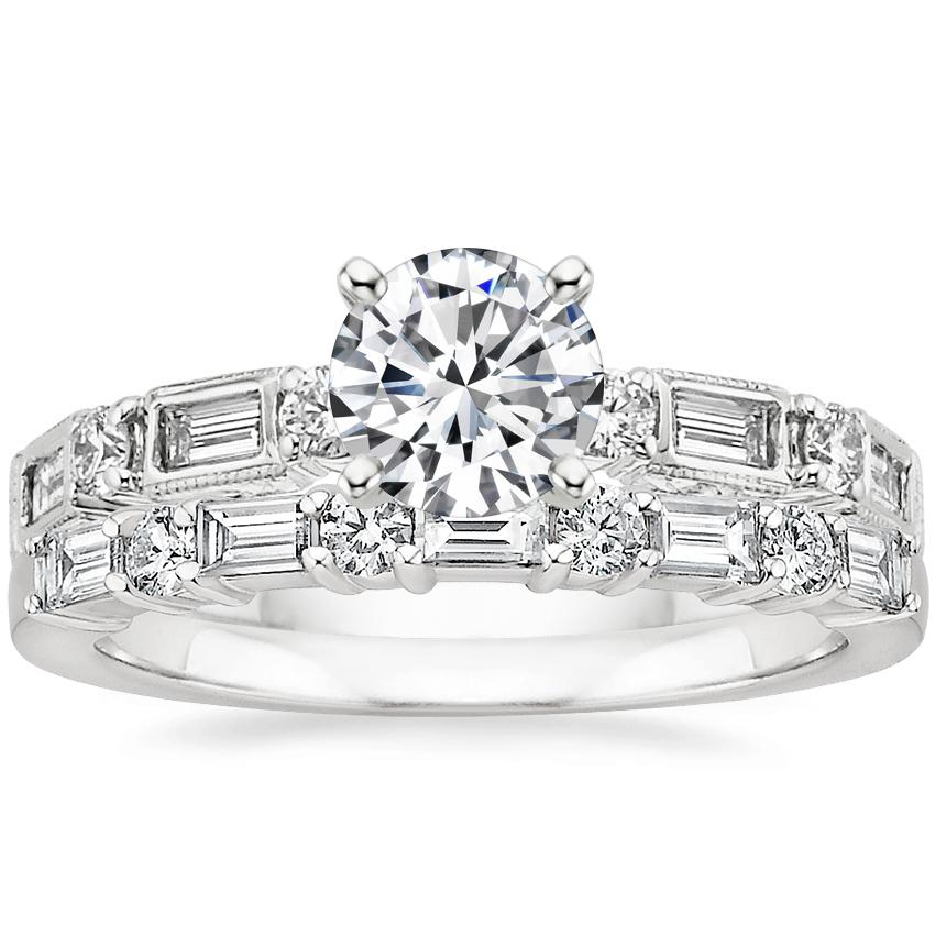 18K White Gold Vintage Diamond Baguette Ring (1/4 ct. tw.) with Leona Diamond Ring (1/3 ct. tw.)