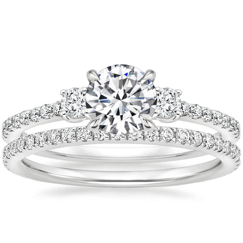 18K White Gold Lyra Diamond Ring (1/4 ct. tw.) with Luxe Ballad Diamond Ring (1/4 ct. tw.)