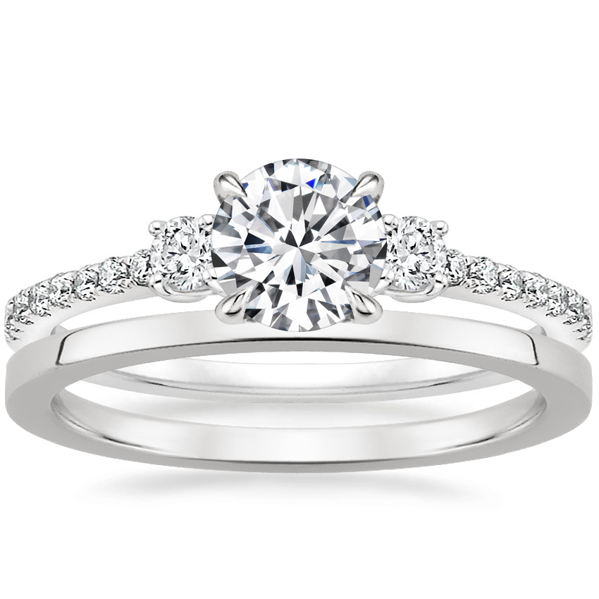 18K White Gold Lyra Diamond Ring (1/4 ct. tw.) with Petite Quattro Wedding Ring